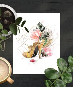 Plakat ze złotym butem do salonu