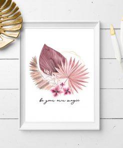 Różowy plakat z motywem roślinnym i typograficznym