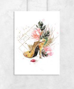 Plakat ze złotym butem do pokoju