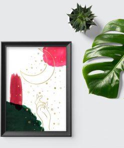 Plakat z dłonią i księżycem do salonu