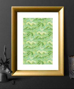 Plakat z zielonymi chmurkami