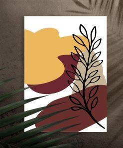 Plakat z motywem gałązki oraz abstrakcją