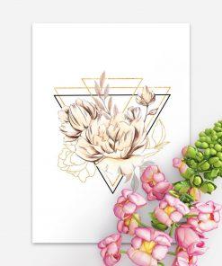 Plakat geometryczny z kwiatami do sypialni