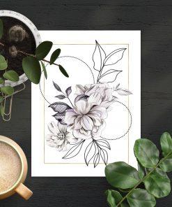 Geometryczny plakat do sypialni - Kwiaty