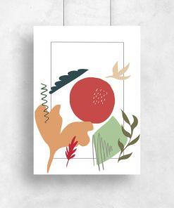 Plakat z roślinami oraz abstrakcją