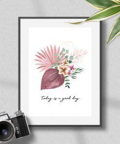 Plakat w roślinami i typografią