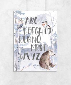 plakat z sową na drzewie dla dzieci
