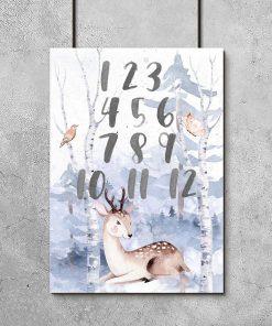 cyferki i zwierzaczki na plakacie do pokoju dziecinnego