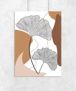 Plakat do oprawienia z abstrakcją i listkami