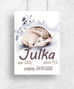 metryczka-plakat ze śpiącym jelonkiem