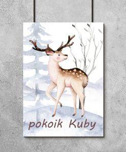 motyw leśny na plakacie do pokoju dziecinnego