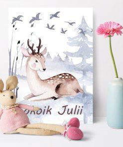dedykowany plakat z imieniem dziecka w pastelowych barwach