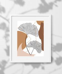 Plakat z abstrakcją i listkami - rysunek