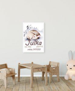 pokój dziewczynki dekorowany plakatem z datą urodzenia i m=imieniem