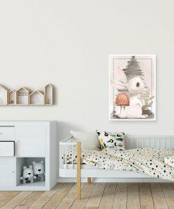 Plakat z królikiem do pokoju dziewczynki