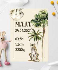 dziecięcy plakat z palmą i gepardem