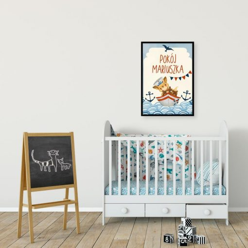 Niebieski plakat imienny do pokoju dziecinnego