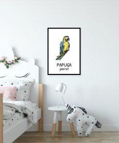 Plakat z papugą do pokoju dziecięcego