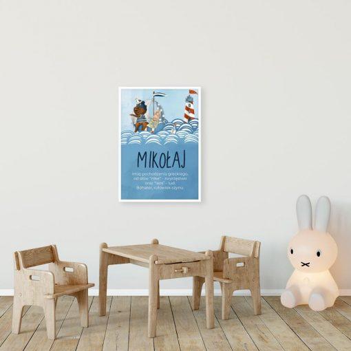 Imienny plakat do pokoju dziecięcego - Zwierzaki na statku