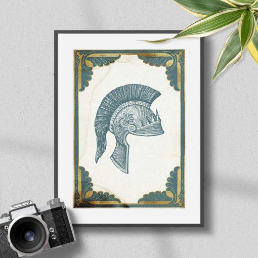 Plakat hełm żołnierski z okresu starożytności