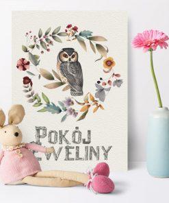 Plakat dla dziecka z napisem: pokój Eweliny