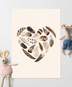 Brązowe serce z piór - plakat dla dziewczynki