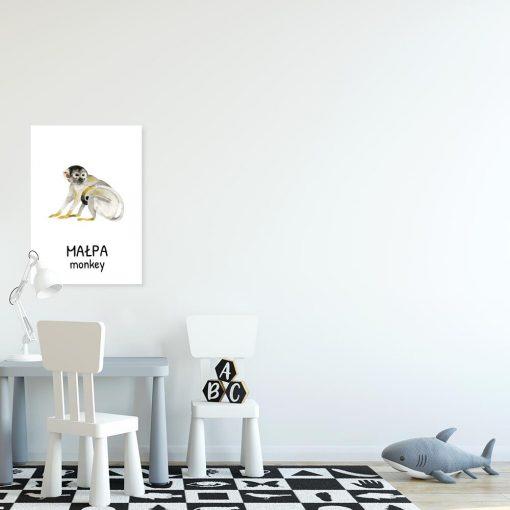 Plakat z małpą do pokoiku dziecka
