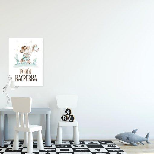 Miętowy plakat imienny dla przedszkolaka