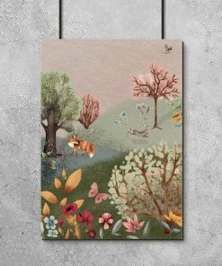 Barwny plakat dla dziewczynki - Lis