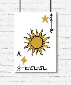 Słońce i gwiazdy na plakacie