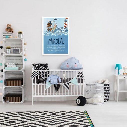 Personalizowany plakat z latarnią morską do pokoju dziecinnego