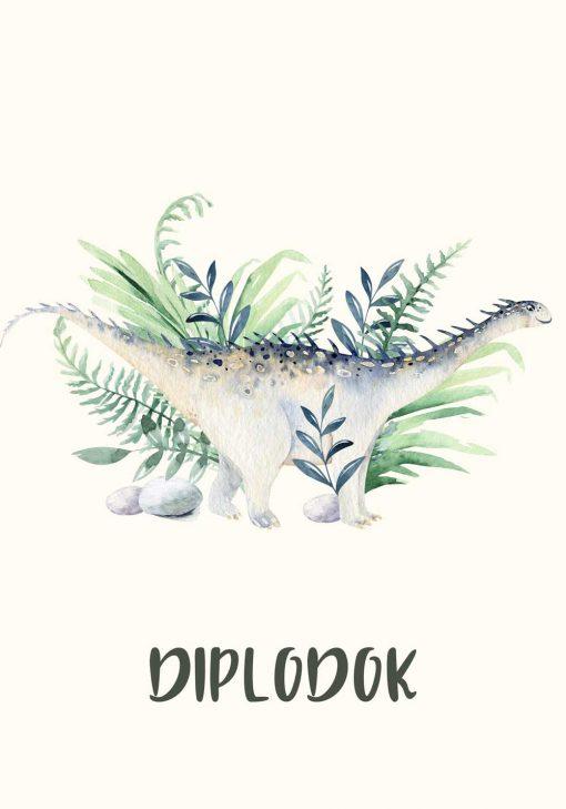 Diplodok - Dinozaur na plakacie dziecinnym