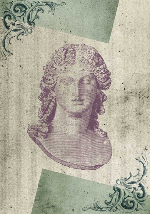 Plakat motywem liści akantu oraz rzeźbą