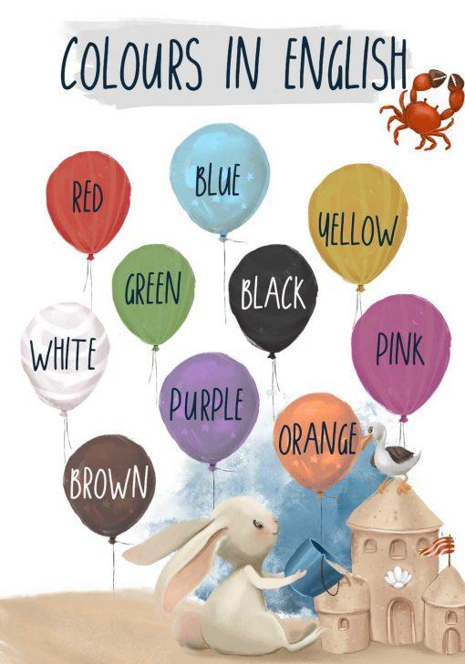 Nazwy kolorów po angielsku - Plakat dziecięcy