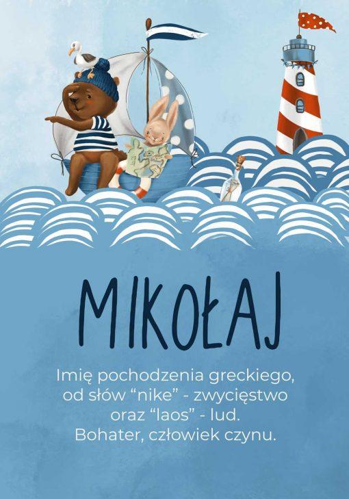 Marynarski plakat dla chłopca z historią imienia