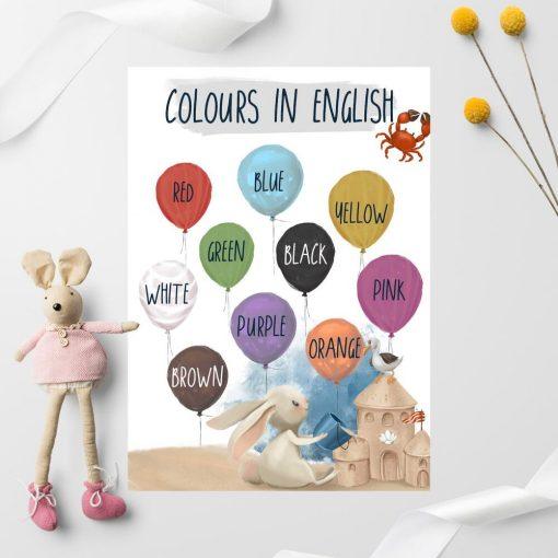 Angielskie napisy na barwnych balonach - Plakat dla dziewczynki