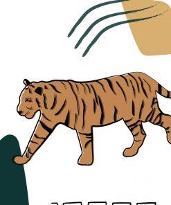 Plakat z tygrysem w tonacji brązu