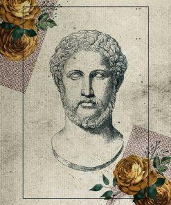 Plakat z głową Greka wyrzeźbioną w marmurze