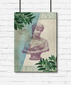 Plakat z starożytnym popiersiem
