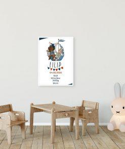 Plakat - Metryczka z niebieskim statkiem i króliczkiem
