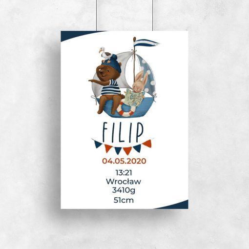 Metryczka dla dzieci - Plakat z misiem