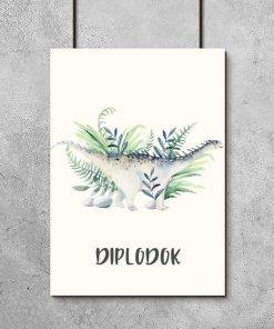 Niebieski dinozaur na plakacie do dziecinnego pokoju
