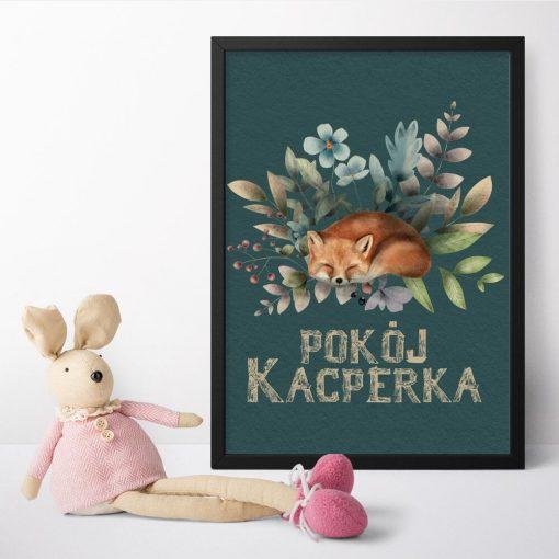 Plakat dla dziecka z typografią i lisem