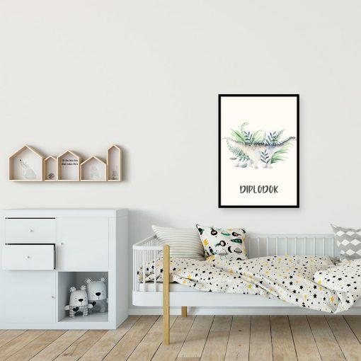 Dinozaur na niebieskim plakacie