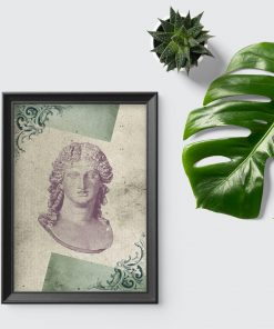 Plakat marmurowe popiersie i liście akantu
