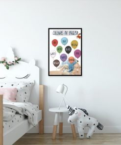 Angielskie napisy na balonikach - Plakat dla przedszkolaka