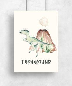 Dziecięcy plakat z wulkanem i dinozaurem