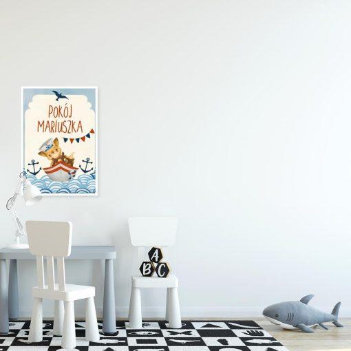 Niebieski plakat imienny z lisem