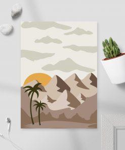 Plakat widok na palmy i zachodzące słońce