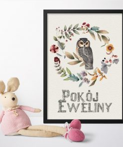 Plakat z napisem pokój Eweliny i sówką